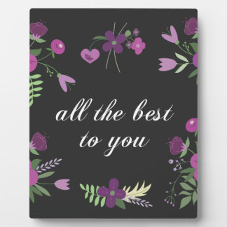 Wish You All The Best - Purple Flower Print Plaque