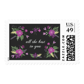 Wish You All The Best - Purple Flower Print Postage