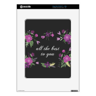 Wish You All The Best - Purple Flower Print Skin For The iPad