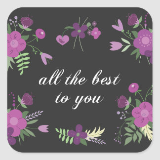 Wish You All The Best - Purple Flower Print Square Sticker