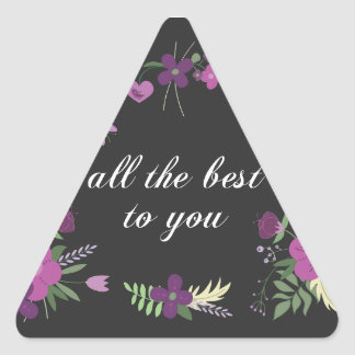 Wish You All The Best - Purple Flower Print Triangle Sticker