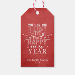 Wish You Holiday Cheer | Red Watercolor Gift Tag