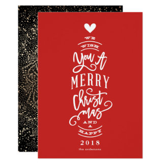 Wish You Merry Christmas Happy Year No Photo Card
