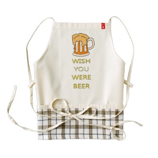Wish you were beer funny design zazzle HEART apron