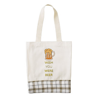 Wish you were beer funny design zazzle HEART tote bag