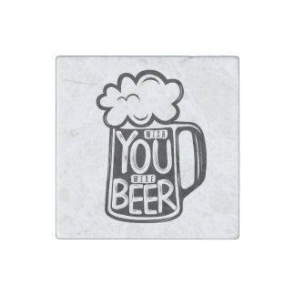 Wish You Were Beer Typography Stone Magnet