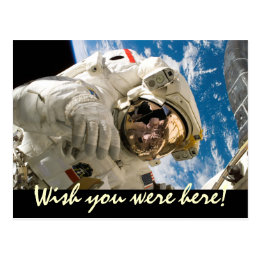 Wish You Were Here Astronaut Space Travel Postcard