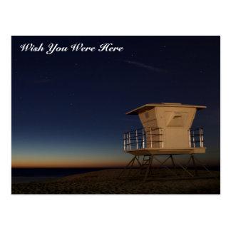 """Wish You Were Here"" beach stars postcard"