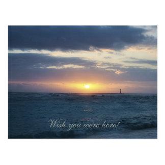 Wish You Were Here: Beach Sunset Postcard