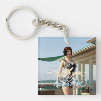 Wish You Were Here Belle Single-Sided Square Acrylic Keychain