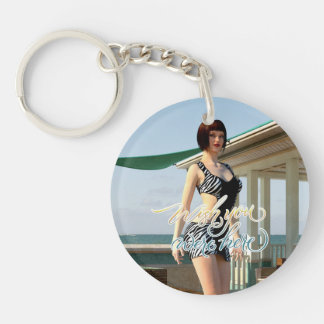 Wish You Were Here Belle Single-Sided Round Acrylic Keychain