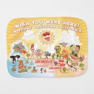 Wish You Were Here California Burp Cloth