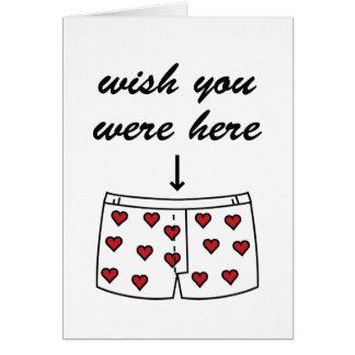 Wish You Were Here. Valentine's Card. Card
