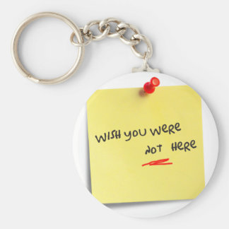 Wish you were not here basic round button keychain