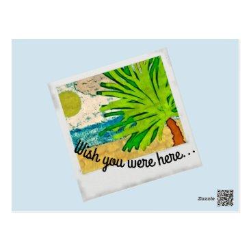 Beach Themed wish you were postcard