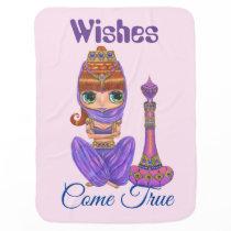 Wishes Come True Purple Genie Girl Magic Bottle Baby Blanket