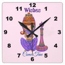Wishes Come True Purple Genie Girl Magic Bottle Square Wall Clock