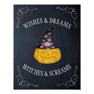 Wishes Dreams Witches Screams Halloween Chalkboard Poster