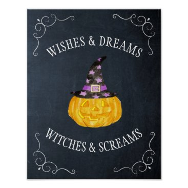Halloween Themed Wishes Dreams Witches Screams Halloween Chalkboard Poster