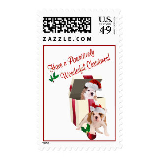 Wishes for a Pawsitively Wonderful Christmas Postage Stamps