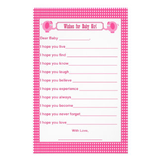 Wishes for Baby - Baby Shower Keepsake Elephant P Stationery Paper