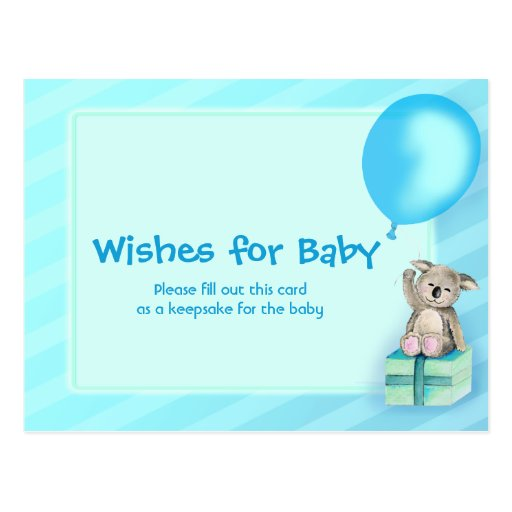 wishes for baby boy koala baby shower postcard zazzle