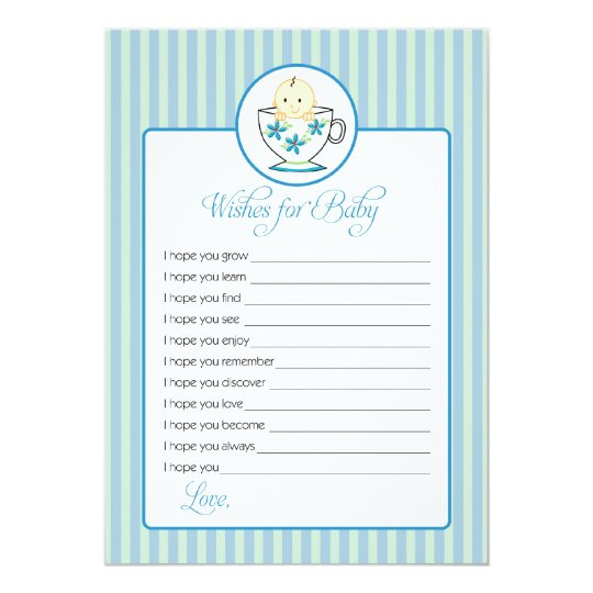 Wishes for Baby Card - Baby Boy In Tea Cup