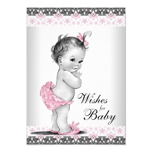 Baby Shower For Girl Wishes ~ Wishes for baby card girl shower zazzle