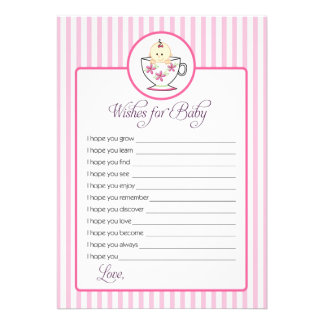 Wishes for Baby Card - Baby In Tea Cup Design Custom Invitations