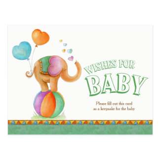 Wishes for baby circus elephant shower postcard