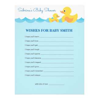 Wishes for Baby Cute Rubber Duck  Baby Shower Game Flyer