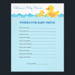 "Wishes for Baby Cute Rubber Duck Theme Baby Shower Letterhead<br><div class=""desc"">A super fun way to express your &quot;Wishes for Baby&quot; notes in cute rubber duck design. Great for baby shower!</div>"