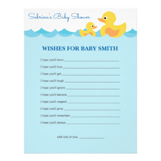 Wishes for Baby Cute Rubber Duck Theme Baby Shower Letterhead