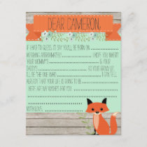 Wishes for baby - Fox theme Advice Card