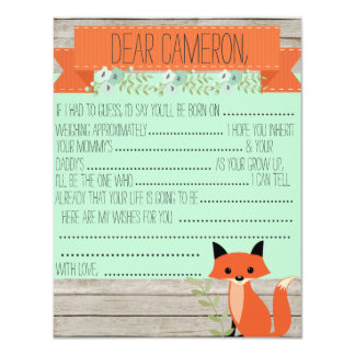 Wishes for baby - Fox theme Card