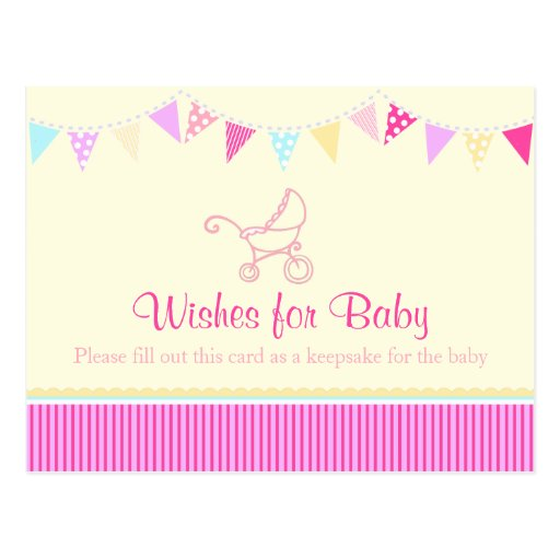 wishes for baby girl baby shower pink postcard zazzle