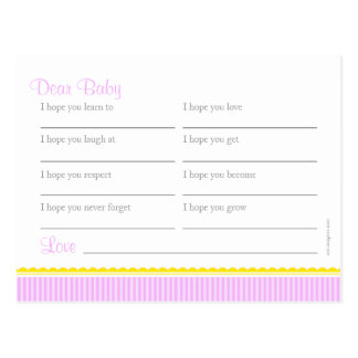 Wishes for baby - girl baby shower postcard