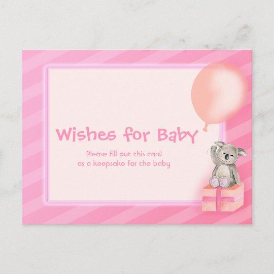 wishes for baby girl koala baby shower postcard