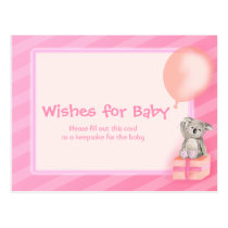 Wishes for baby girl - koala baby shower postcard
