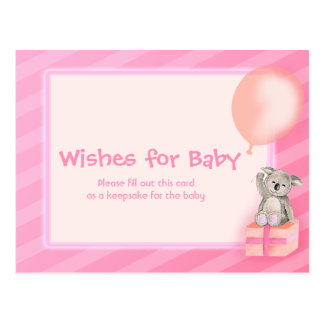 Wishes for baby girl - koala baby shower postcard