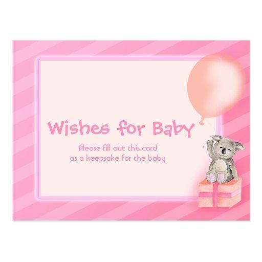 wishes for baby girl koala baby shower postcard zazzle
