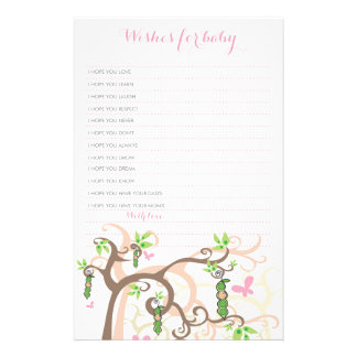 Wishes For Baby Girl Pea In A Pod Custom Template Stationery