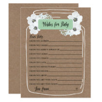 Wishes for Baby Mason Jar Baby Shower Game Card