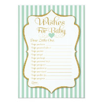Wishes For Baby Mint Green Baby Shower Game Card
