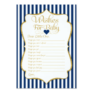 Wishes For Baby Navy Blue Gold Baby Shower Game Card
