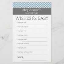 Wishes for Baby - Pastel Blue Chevrons Shower Game