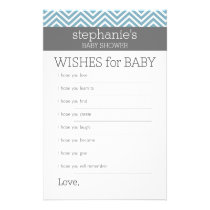 Wishes for Baby - Pastel Blue Chevrons Shower Game Flyer