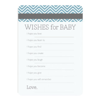 Wishes for Baby - Pastel Blue Chevrons Shower Game 5x7 Paper Invitation Card