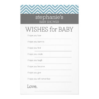 Wishes for Baby - Pastel Blue Chevrons Shower Game Stationery