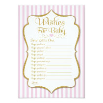 Wishes For Baby Pink Gold Girl Baby Shower Game Card